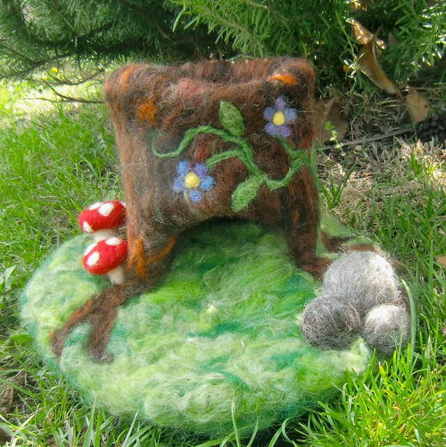 Tree playscape with toadstools boulders and toadstool for Felted wool boulders