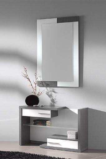 Mueble recibidor vanguardista con espejo y taquill n en d - Mueble recibidor moderno ...