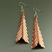 Fold Formed Corrugated Triangular Copper Earrings