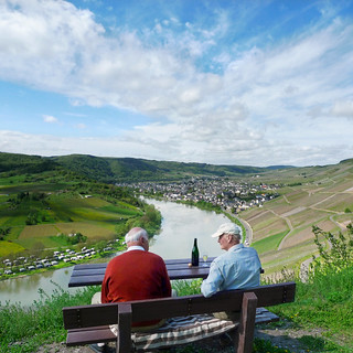 Vineyard owners enjoying Riesling wine of previous years | by B℮n