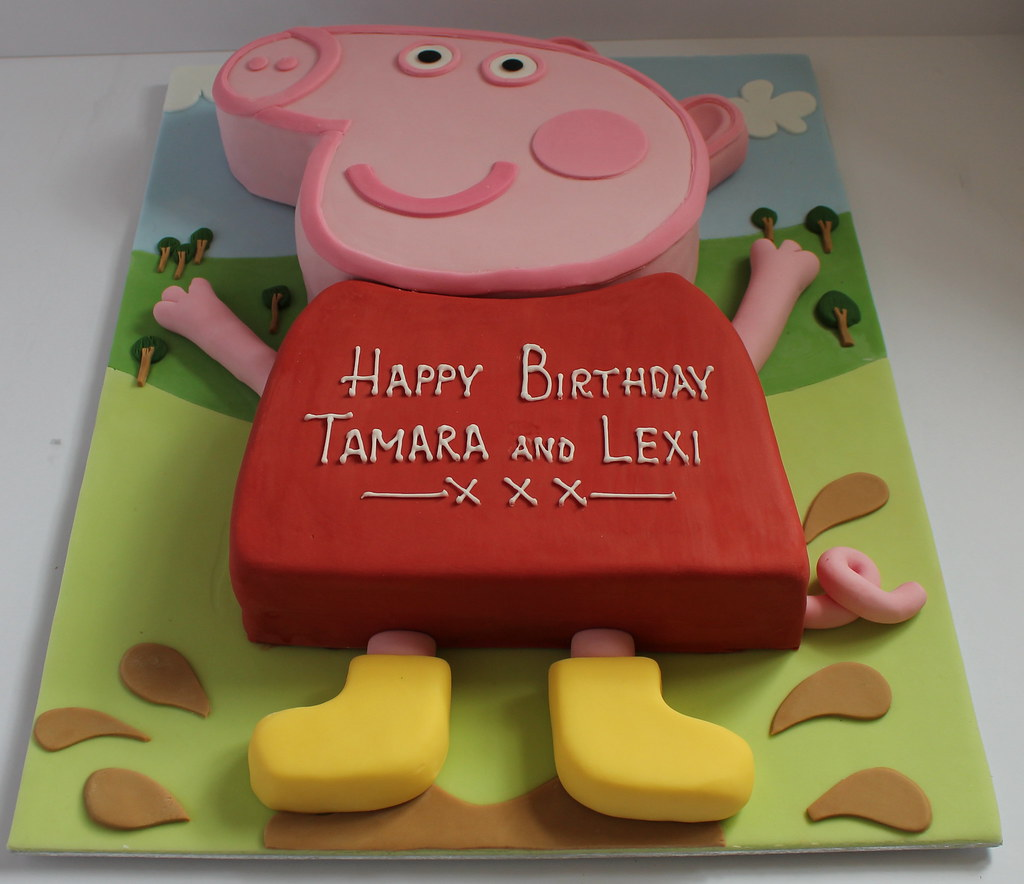 Peppa pig birthday cake pauls creative cakes flickr for Peppa pig cake template free