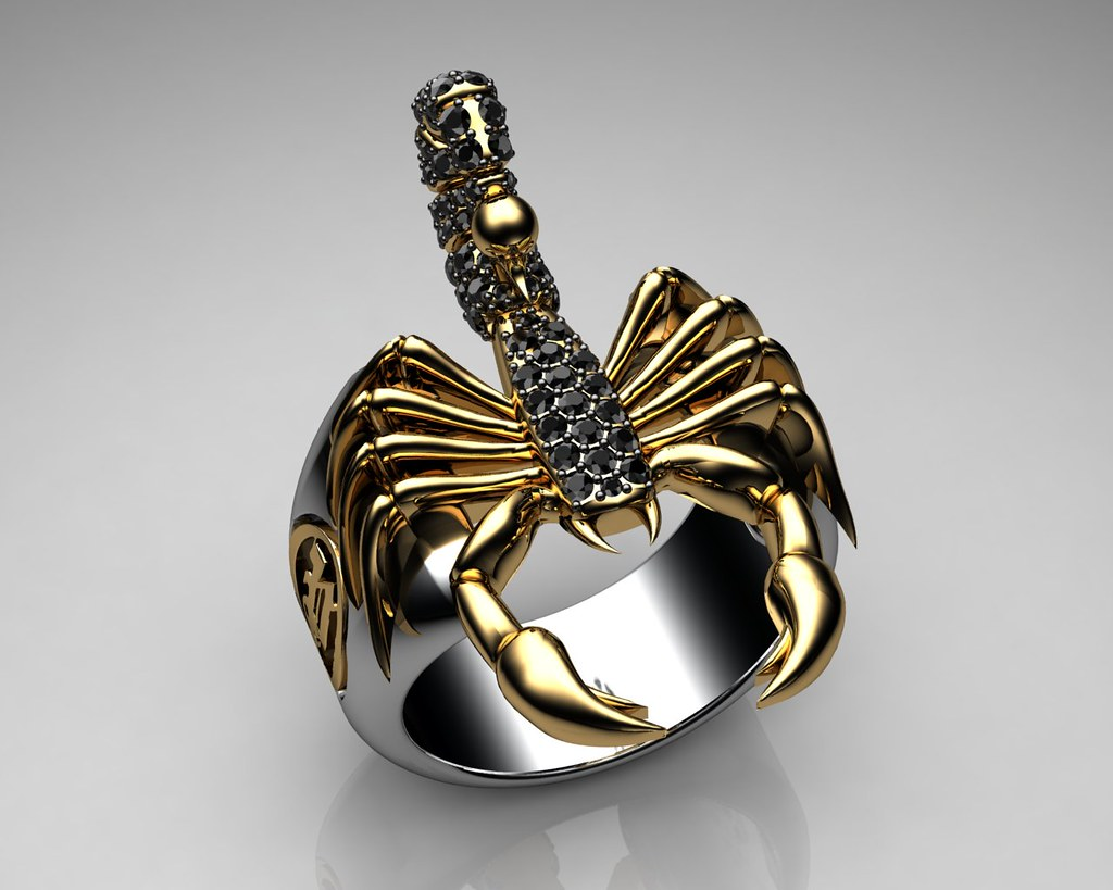 Unique Mens Ring Scorpion Sterling Silver And Gold With Bl