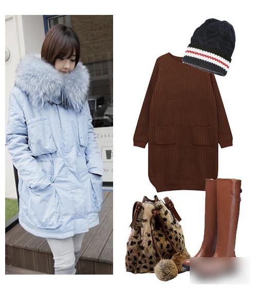 Light blue plush hooded cotton jacket