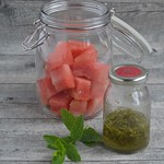 Watermelon with Fresh Mint and Lime Syrup