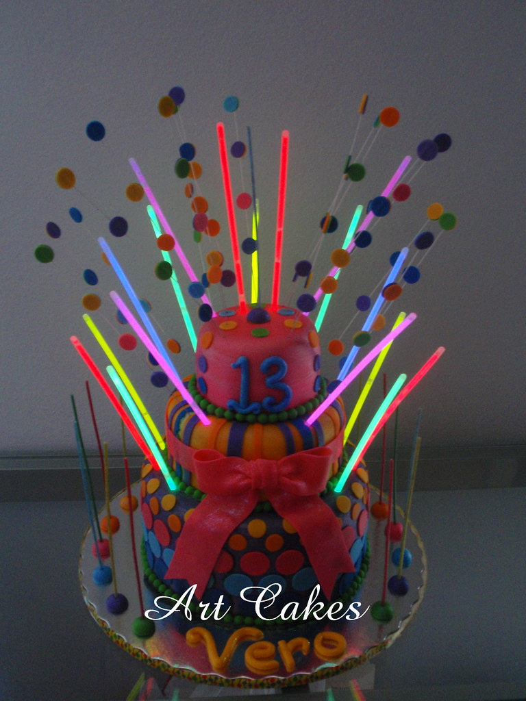 Disco Birthday Cake With Quot Glow In The Dark Quot Strips Flickr
