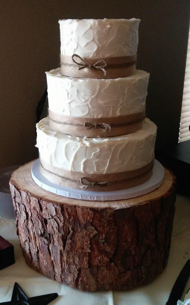 Three Tier Rustic With Burlap Wedding Cake