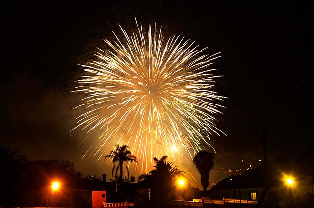 From a distance, Fuegos del Mayo, Fireworks, Los Realejos, Tenerife