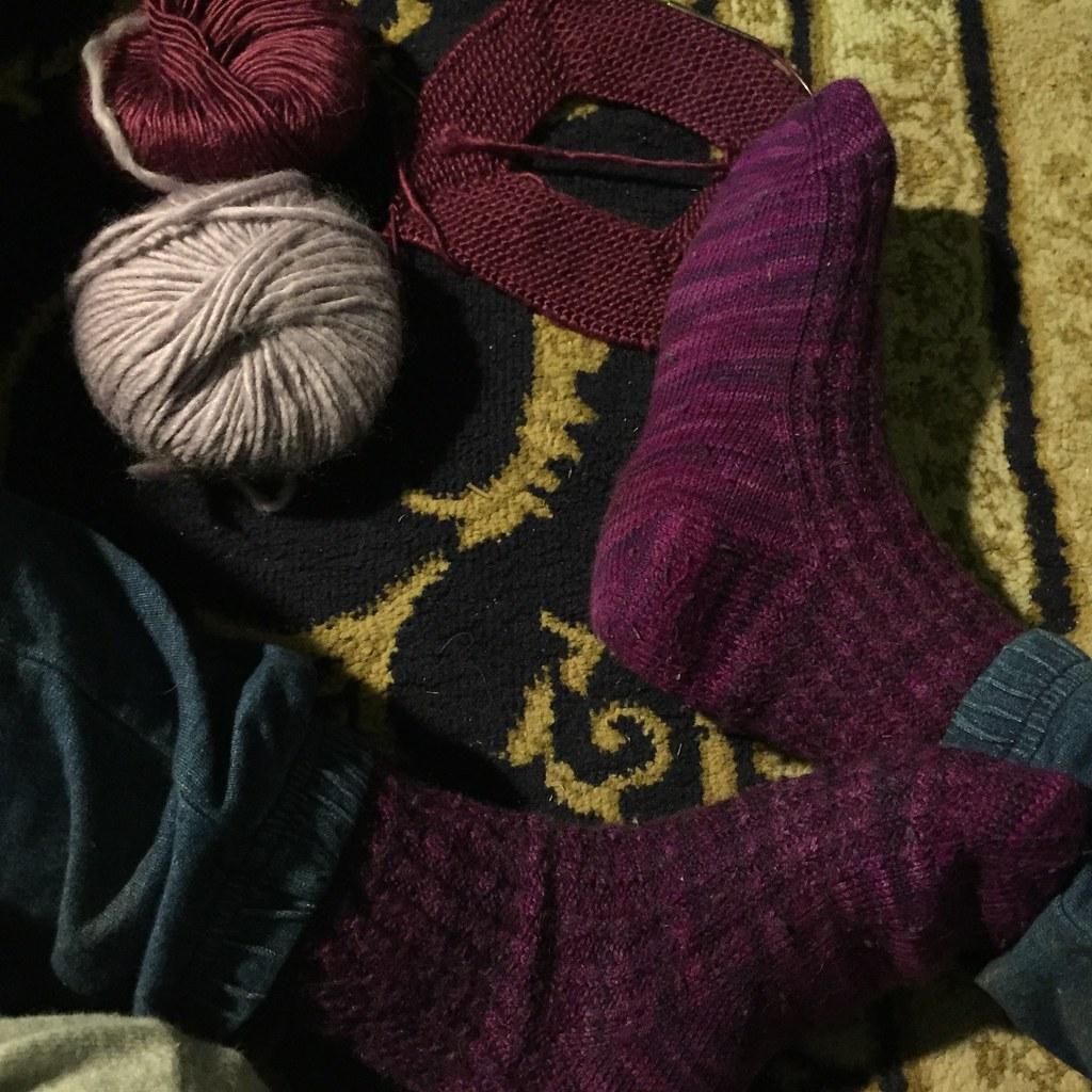 sugar maple socks knit in waikiwi sock prints in purple