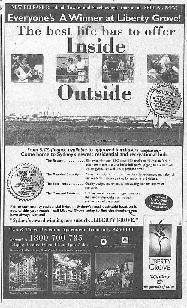 Liberty Grove Ad June 5 1999 SMH 24RE