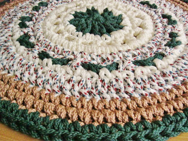 Forest Green Camel Crochet Rug From Macrame Cord This