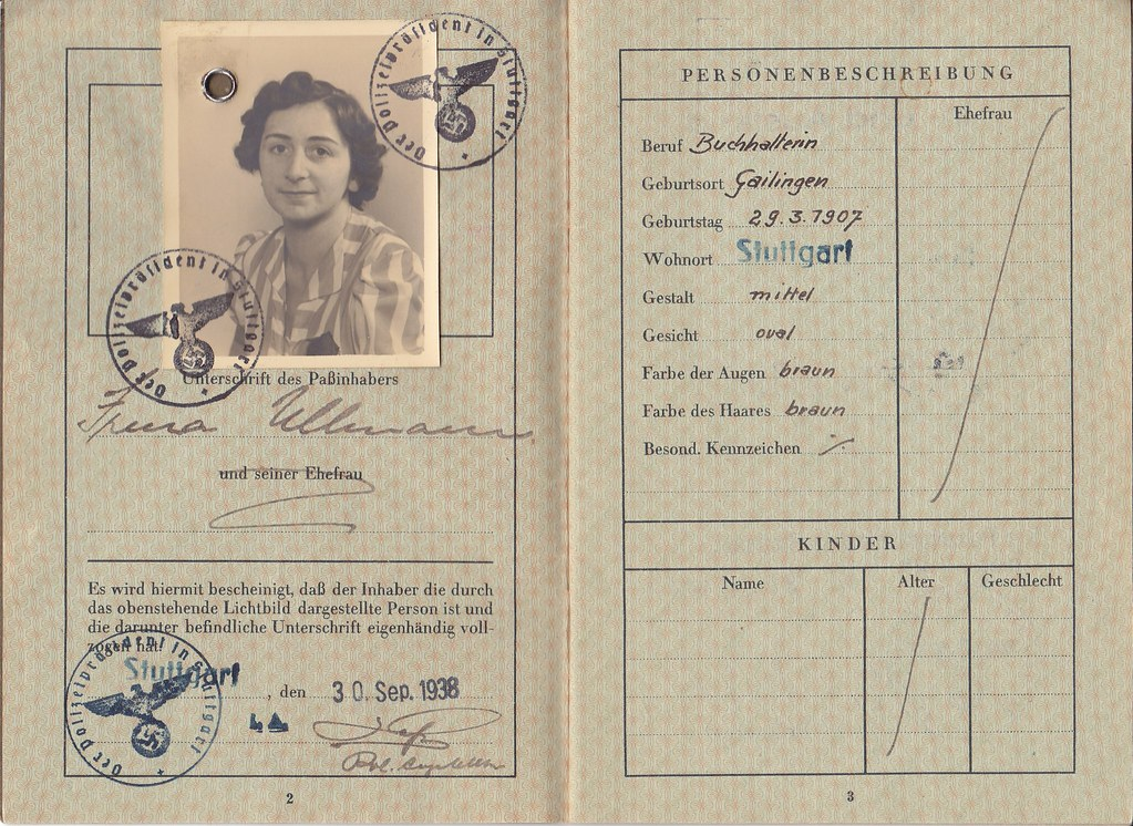 irma ullmann u0026 39 s german passport  deutsches reich reisepass