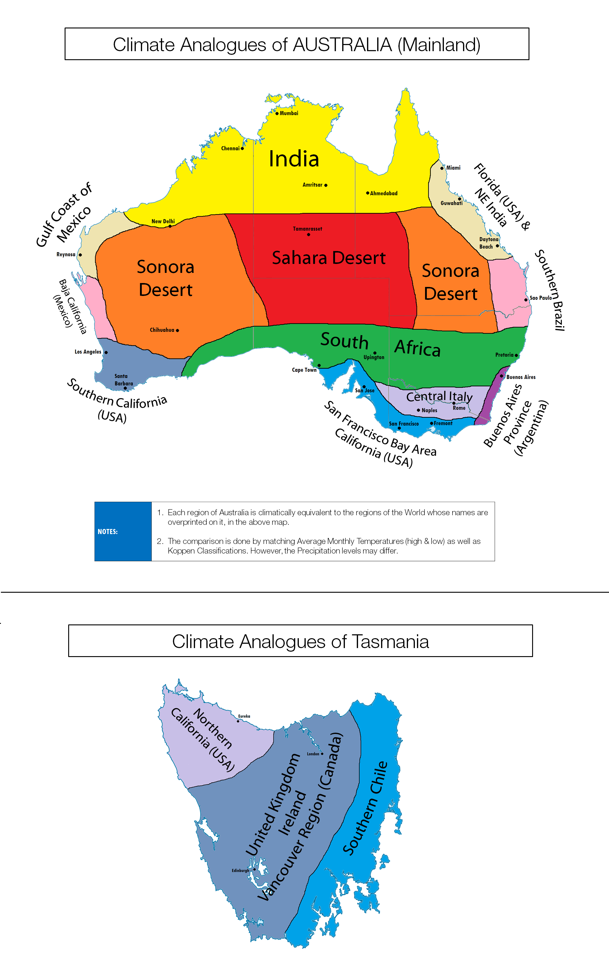 Map Of Australia And Usa.Climate Analogues Of Australia Brilliant Maps