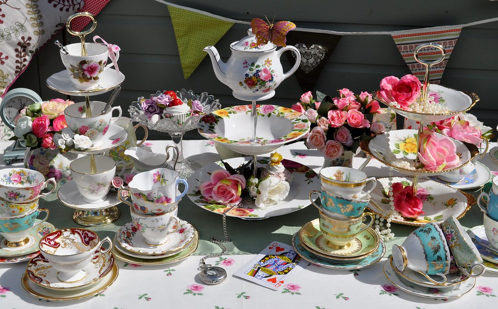 mad tea party with vintage china cakestandheaven