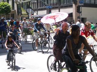 Bike riders on Spring Street during CicLAvia | by ubrayj02