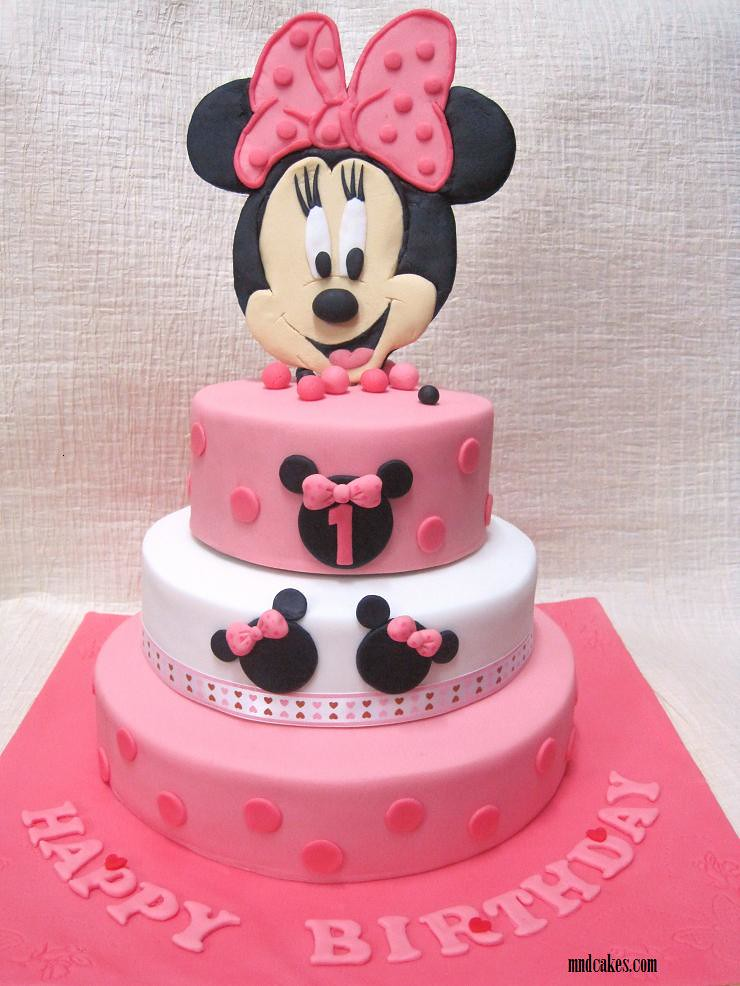 3 Tiered Minnie Mouse Cake For A 1 Year Old Girl S