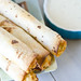 Baked Buffalo Ranch Chicken Taquitos with Blue Cheese Sauce