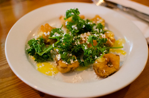 fried artichokes with peppercress & ricotta salata | by h-bomb