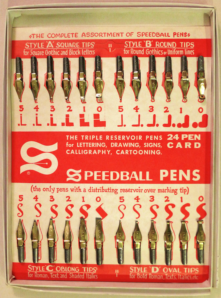 Speedball 24 Pen Card The Triple Reservoir Pens For