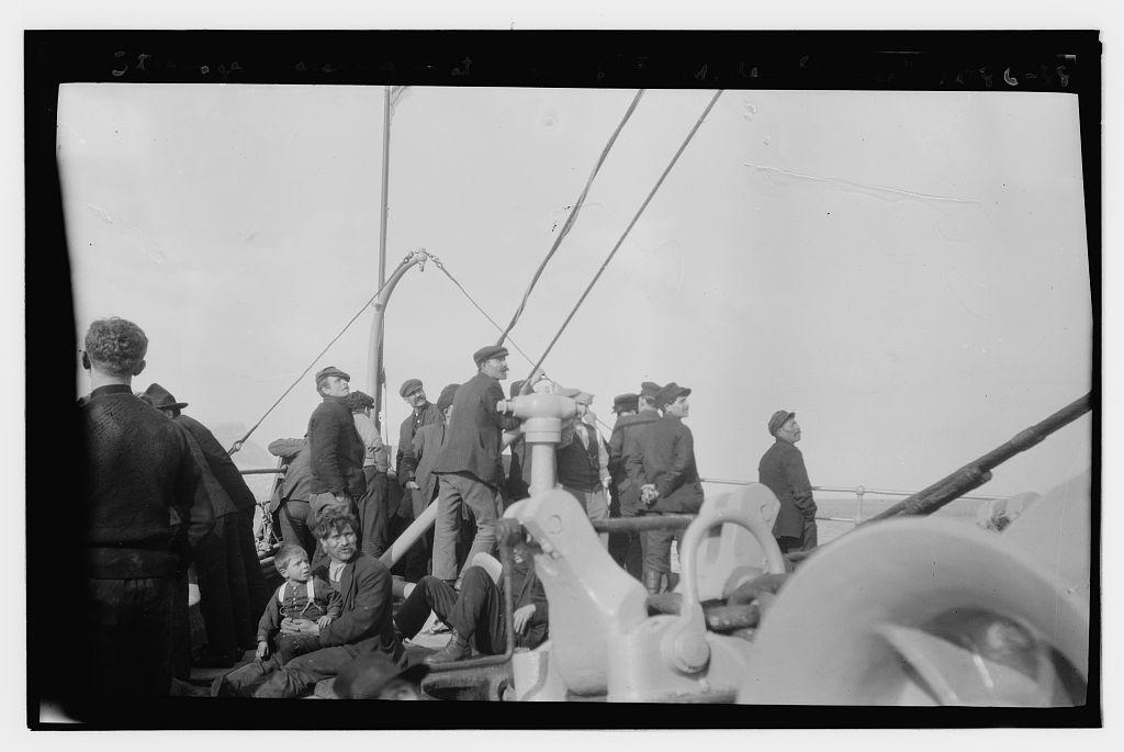 Steerage passengers at bow of FRIEDRICH DER GROSS (LOC)