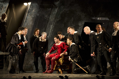 Vittorio Grigolo as Duke Of Mantua, Zhengzhong Zhou as Marullo and Pablo Bemsch as Matteo Borsa with the chorus in Rigoletto © Johan Persson/ROH 2012 | by Royal Opera House Covent Garden
