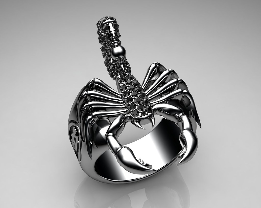 Unique Mens Ring Scorpion Sterling Silver With Black Diamo