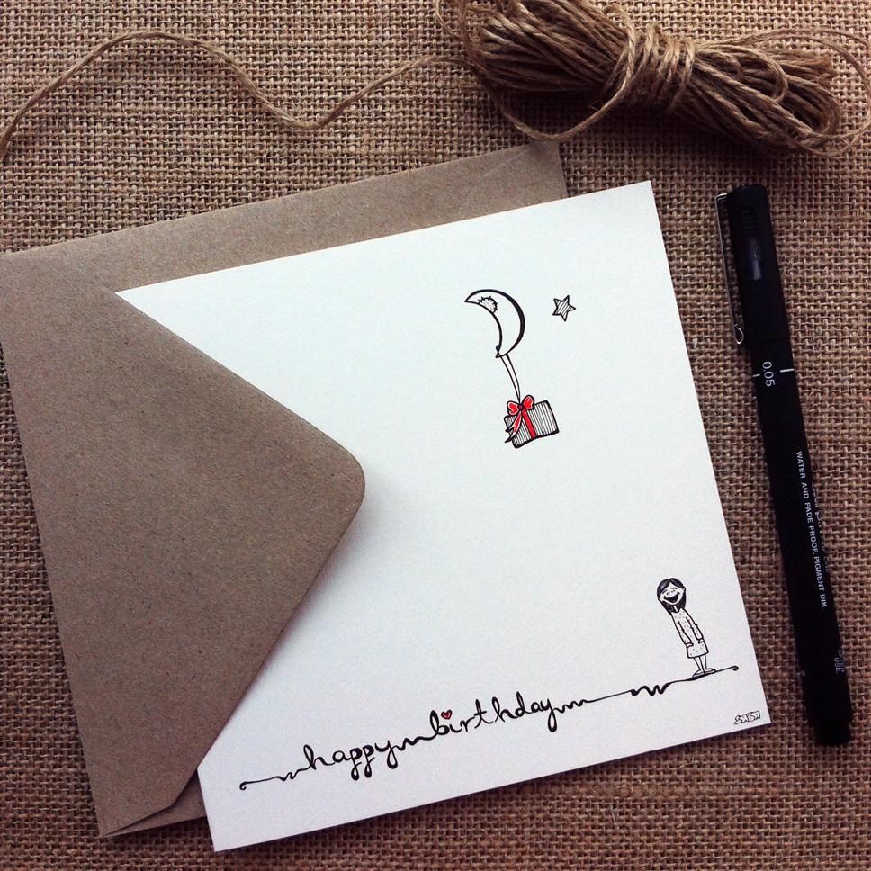 happy birthday greeting card hand drawn birthday card
