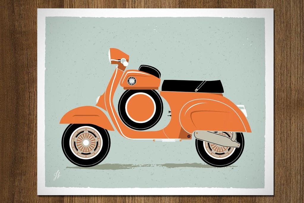 Vintage Vespa Prints One Poster Becomes Four 8 X10 Art