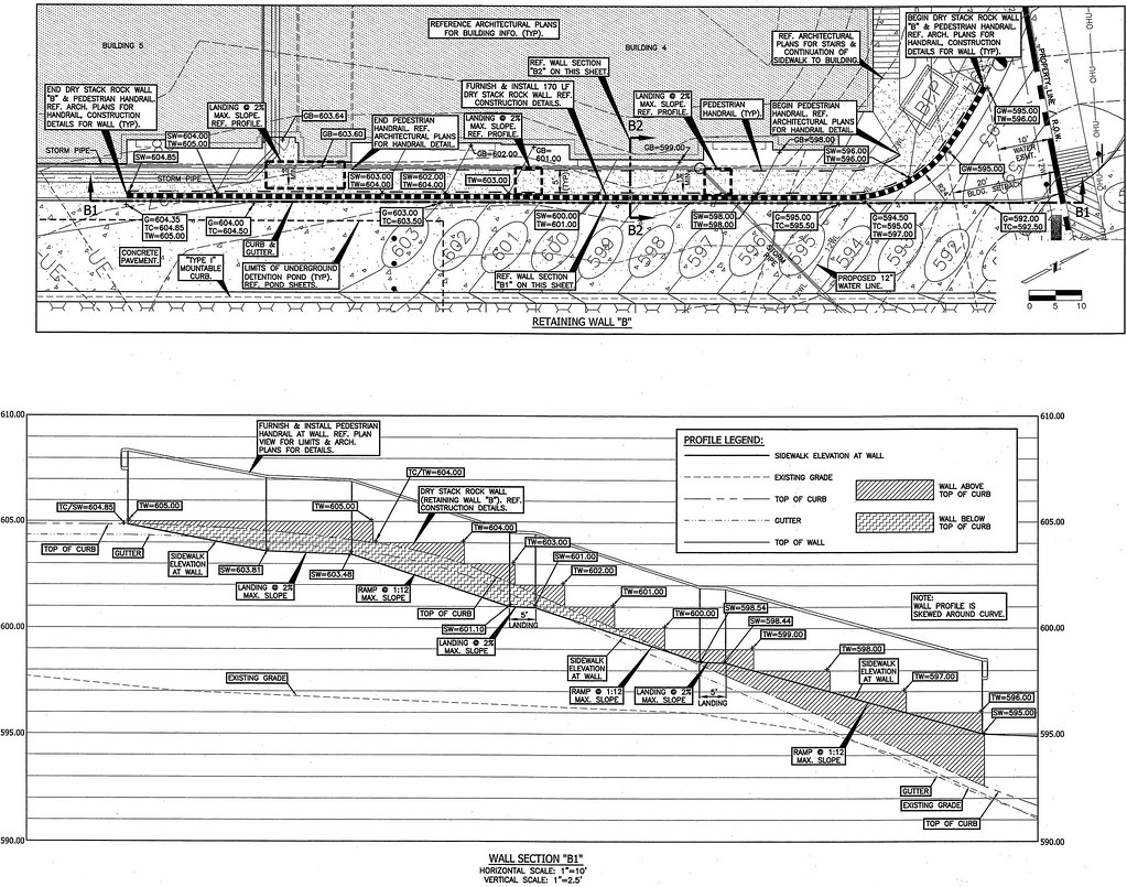 Elevation Plan And Profile : Retaining wall sidewalk plan profile of