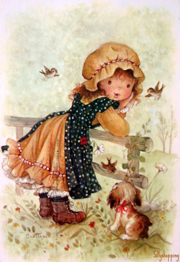 Vintage Big Eyed Girl Postcard | by Constanza ... Holly Flower Drawing