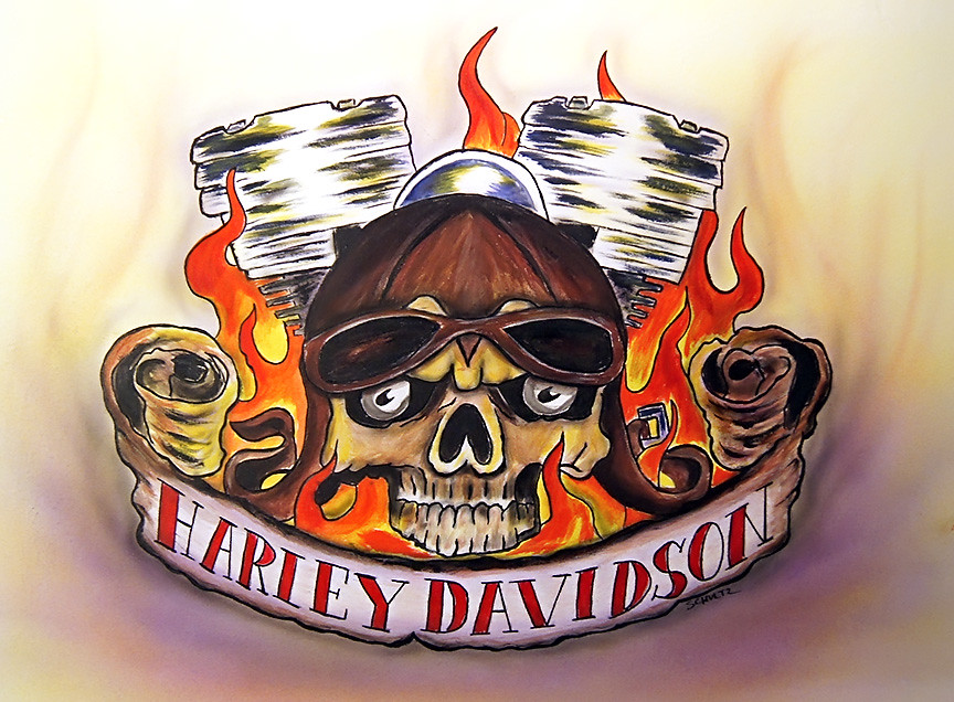 Flaming Skull Harley Davidson  Acrylic And Airbrush Paint