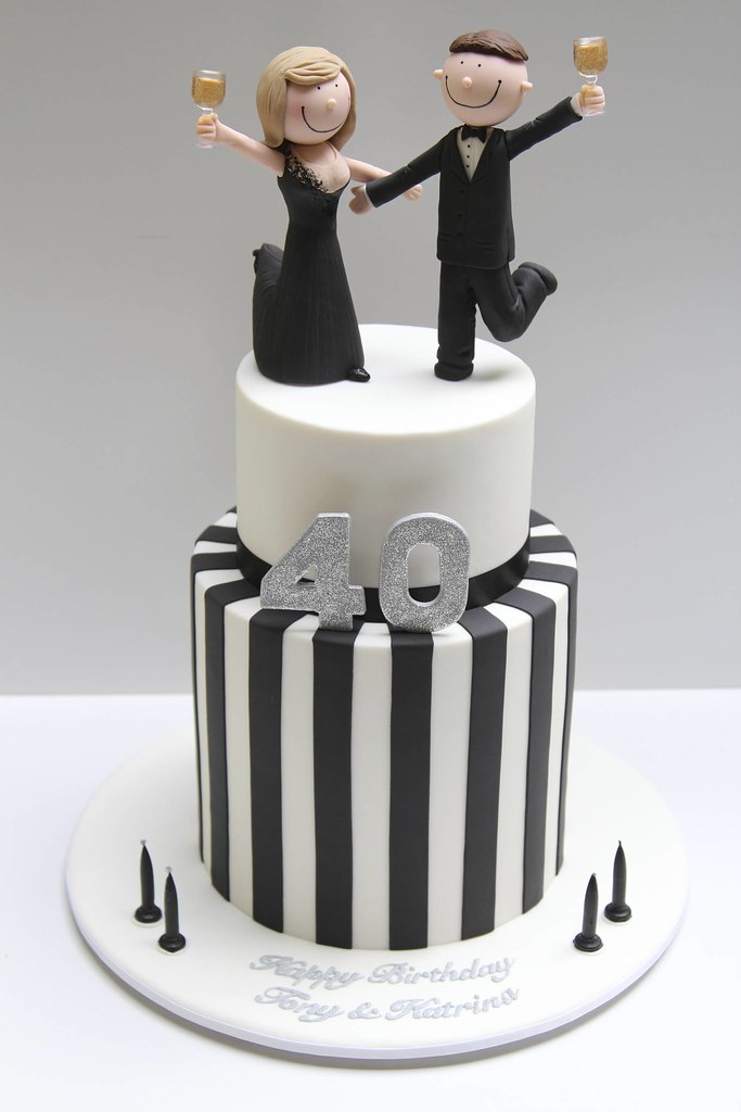 Black And White 40th Birthday Cake Joint 40th Birthday