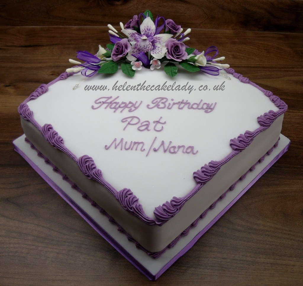 Birthday Cake Designs In Square : Lilac Orchid & Rose square Another cake based on a ...