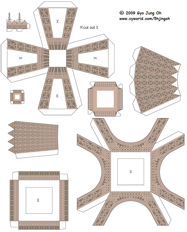 eiffel tower model template - papercraft