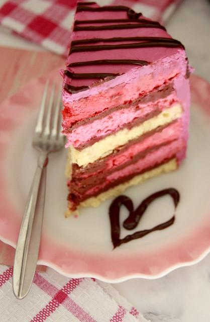 Valentine Pink Rainbow Cake
