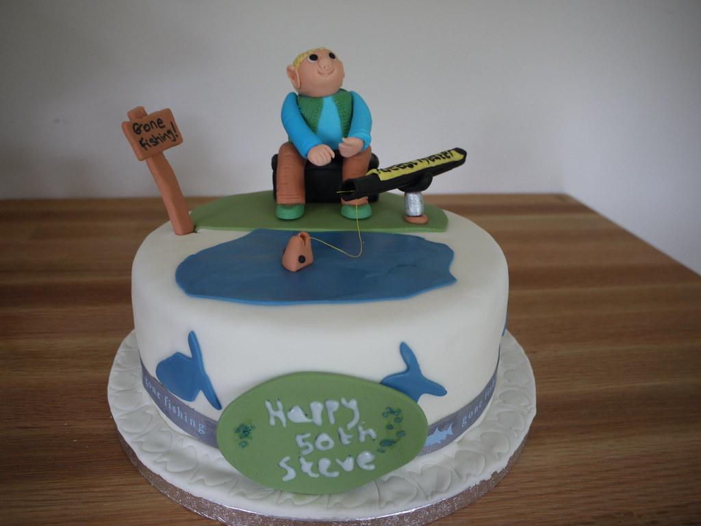 Fishing themed birthday cake fishing themed birthday for Elaine b fishing reports