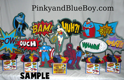 group-superheroes-comic-words-centerpieces-birthday-party ...