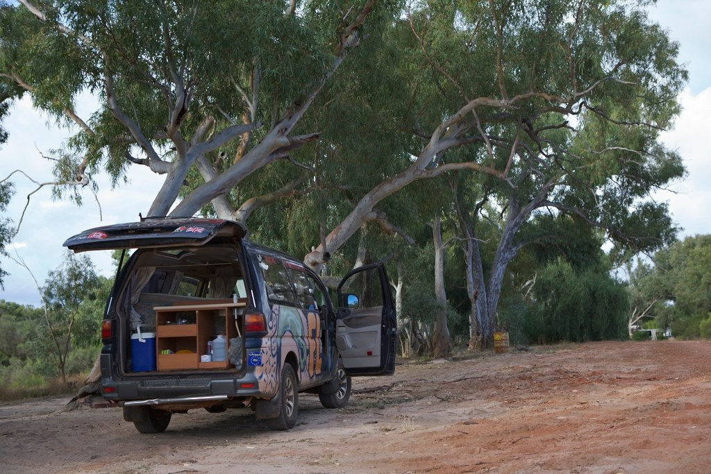 Car Camping Near Roadside Ice June Lake