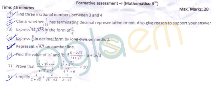 CBSE Class 9 Formative Assessment I Question Paper