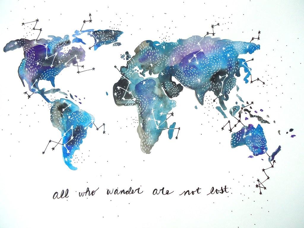 Watercolor Map- our wonderful world! | Lauren | Flickr