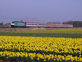 NMBS 2836 with Austrian cars at Warmond, March 24, 2012 | by cklx