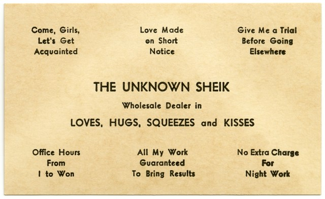 The Unknown Sheik, Wholesale Dealer in Love