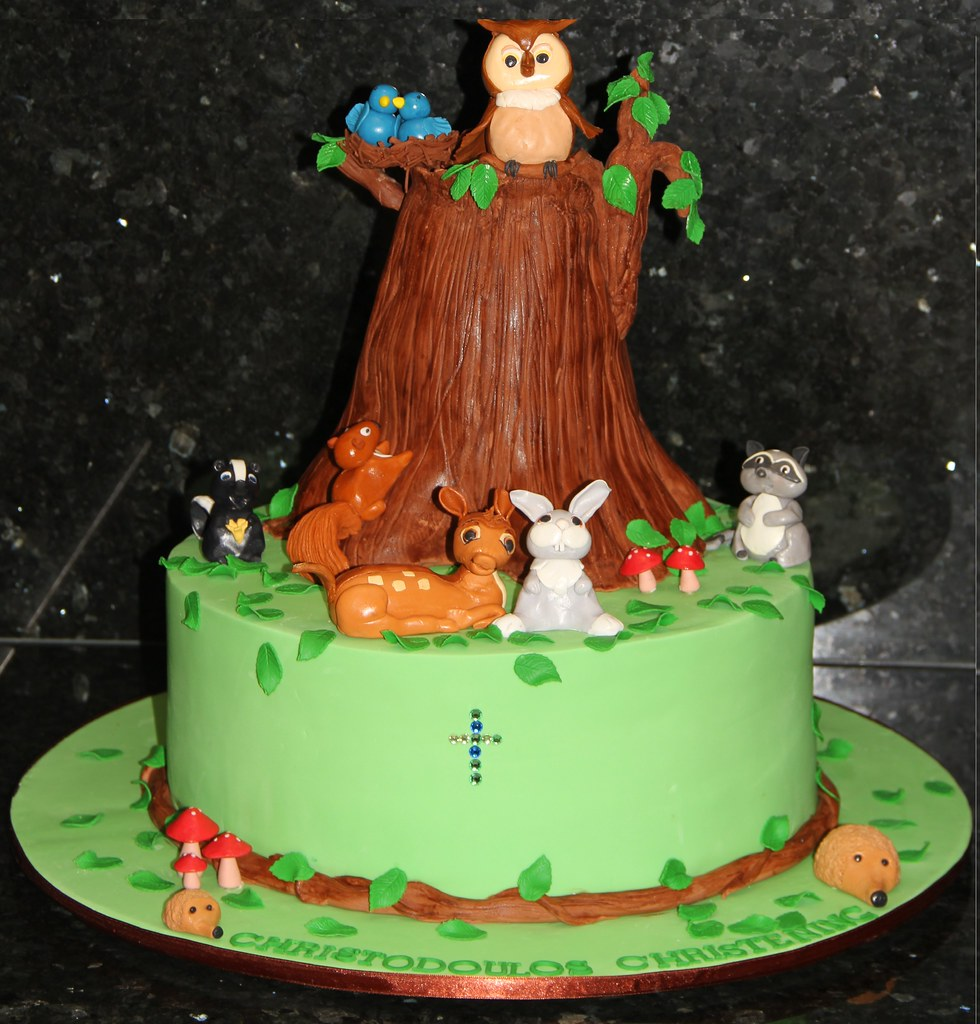 Forest Theme Christening Cake Forest Theme Christening