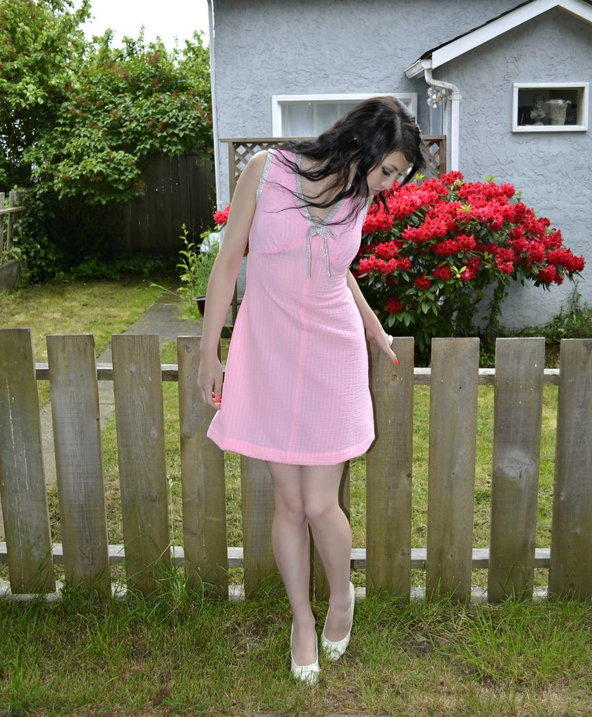 Pink Vintage 60s Mini Dress With Silver Trim