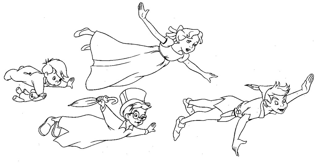Flying peter pan a coloring page of peter pan wendy for Immagini peter pan da colorare