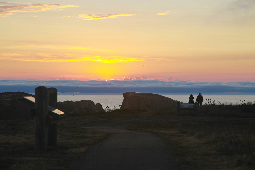 Oregon islands sunset sunset at the coquille point unit for Oregon fish and wildlife jobs
