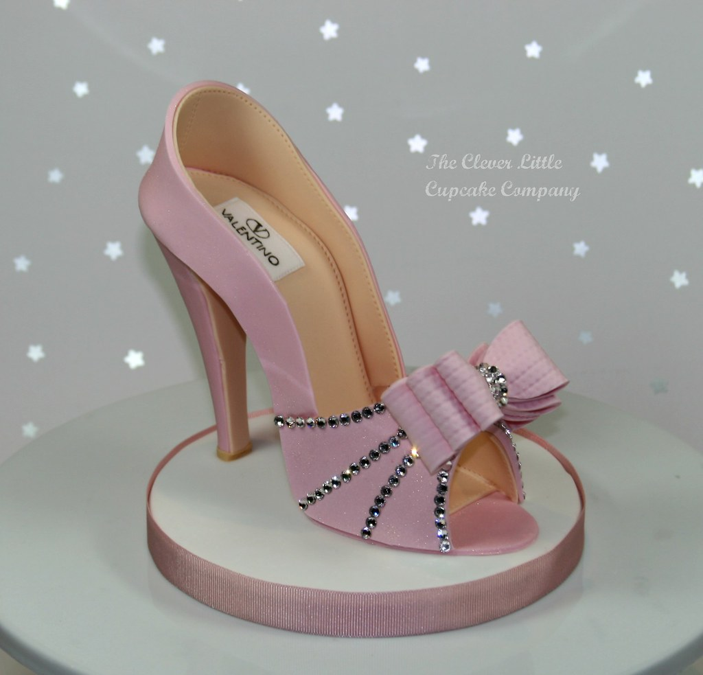 Pink Sugar Shoe Cake Topper   With Swarovski crystals, and ...