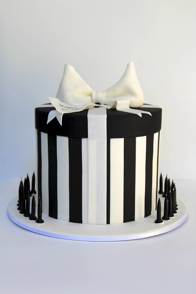 Double Height Black And White Present Box Cake 21st