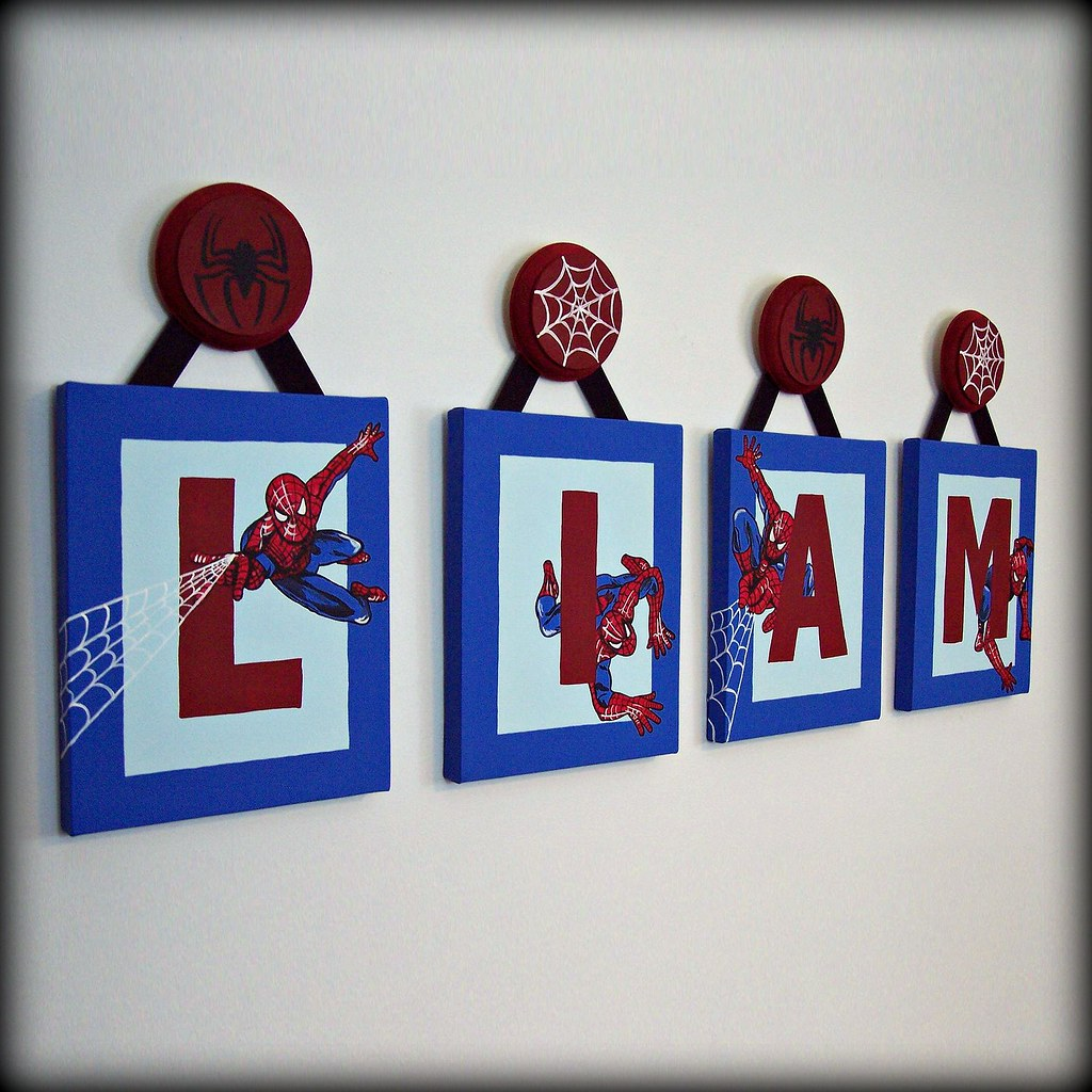 Spiderman name wall art visit for Boys wall art