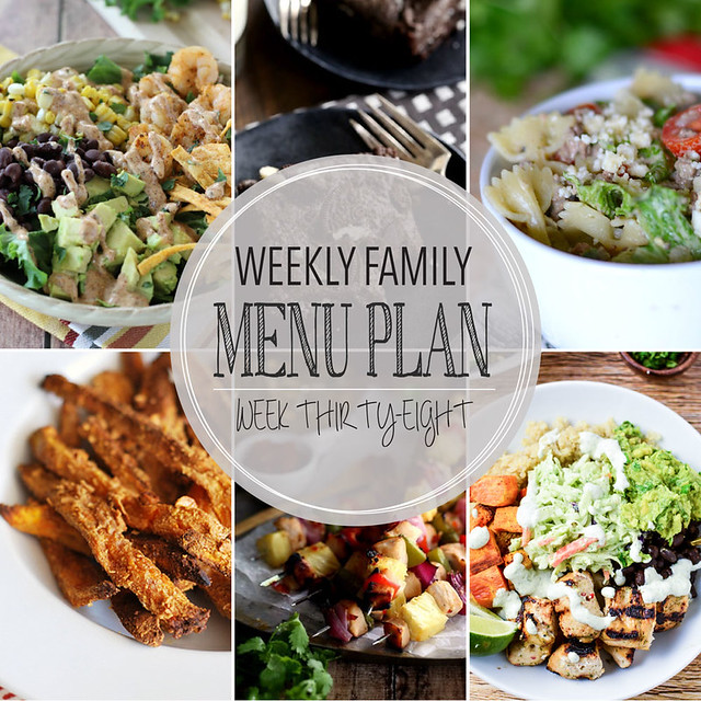 Weekly Family Menu Plan - 5 weeknight dinners, a weekend breakfast, and a yummy dessert!