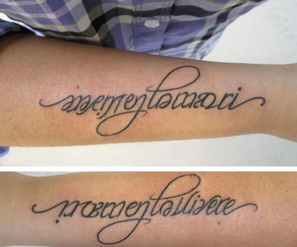 """""""Memento Mori"""" & """"Memento Vivere"""" Ambigram Tattoo"""